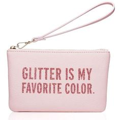 Kate Spade Glitter Is My Favorite Color Kerr ($68) ❤ liked on Polyvore featuring bags, handbags, clutches, pink clutches, kate spade pouch, kate spade handbag, glitter purse and colorful handbags