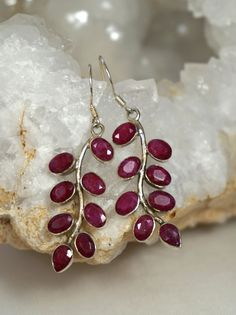 *Ruby and Sterling Earring Set 1 #ruby #earrings #silver