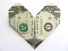"""Easy Money Origami Heart 100's of different origami projects on this site - Valentine's Day meal - cash tip for lunch or dinner - just sometime a little """"special"""" for the server"""