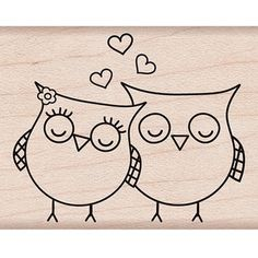 Shop for Hero Arts Heart Owls Wood Mounted Rubber Stamp . Get free delivery On EVERYTHING* Overstock - Your Online Scrapbooking Shop! Tampon Scrapbooking, Owl Crafts, Paper Crafts, Hero Arts, Pyrography, Rock Art, Easy Drawings, Doodle Art, Painted Rocks