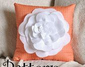 Decorative Pillow Pattern Felt Rose Pillow Pattern Tutorial DIY PDF