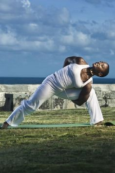 Doing an exercise routine outside at #TheCrane in #Barbados.