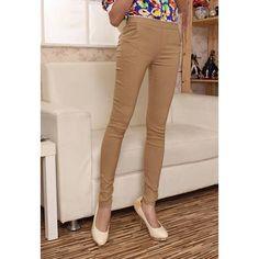 Stunning Solid Color High Waist Springy Cotton Blend Women's Pencil Pants, DARK KHAKI, ONE SIZE in Pants & Shorts | DressLily.com