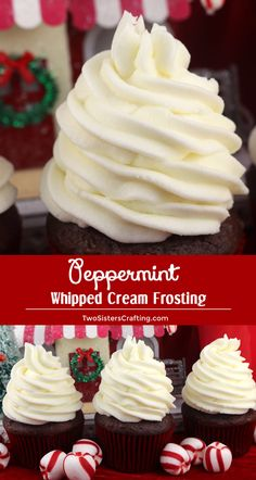 Peppermint Whipped Cream Frosting - creamy, delicious, tastes just like Whipped Cream with just a hint of Peppermint. A great choice for your Holiday baking. And unlike regular Whipping Cream, this frosting holds its shape, lasts for days Frosting Recipes, Cupcake Recipes, Baking Recipes, Cupcake Cakes, Snacks Recipes, Nutella Recipes, Homemade Frosting, Rose Cupcake, Healthy Foods