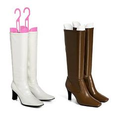 The Container Store Boot Shapers. With their spring-loaded design, they automatically provide the right tension for all types and styles of boots. Store your boots in a Boot Box on a shelf or use the integrated hook to hang them on a closet rod.