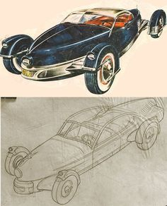 The Lost Sketches of the Tucker Carioca (Maybe). Were they drawn by Loewy, Sakhnoffsky or ? Tucker Automobile, Vintage Cars, Antique Cars, Austin Cars, Preston, Chevy Nomad, Futuristic Cars, Car Sketch, Car Covers