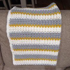 Mustard, Greg and white stripe blanket
