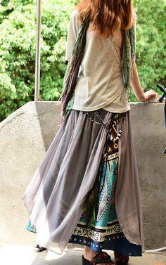 Sari népalais coton mousseline de soie maxi jupe par idea2lifestyle