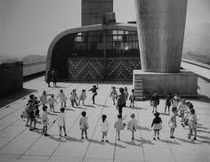 rooftop garden of Unité d'habitation, Cité Radieuse, Marseille    architect:  Le Corbusier  photo by René Burri, 1959