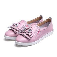 Mulheres verão borlas casuais slip-on elegantes sapatos planas suaves únicos sapatos de condução