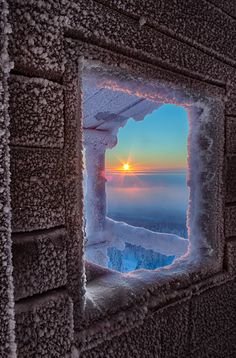 ~~Cold Home ~ frosty winter cottage with a view of the sun, Lapland, Finland by Julius Rintamäki~~