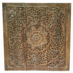 Elegant Wood Carved Wall Plaque Fl Art Bali Home Decor