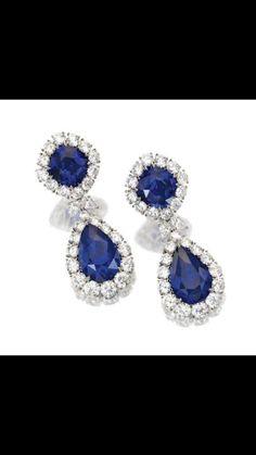 Gorgeous Sapphire & Diamond Earrings.