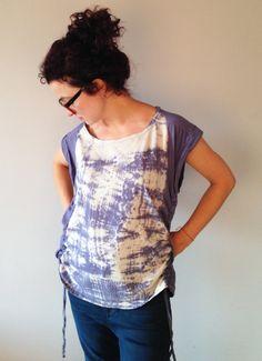 Violet Tshirt Size L Hand Dyed Shibori Unique by BannerDesignShop, $32.00