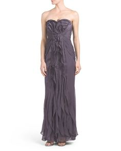 Long Strapless Ruffle Gown