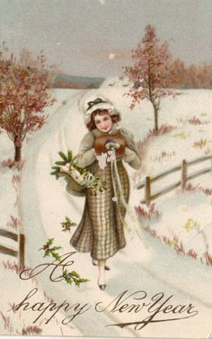 A beautiful vintage happy New Year greeting. #vintage #New_Years #cards