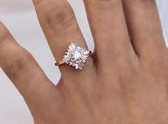 """Gatsby Petite"" Ring - White Sapphires and Diamonds – Heidi Gibson"