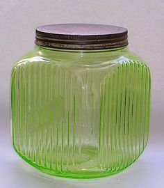 Depression Glass Canister Uranium Green