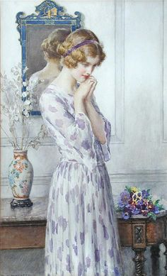 William Henry Margetson. (British, 1861-1940)  Lady With Pansies.
