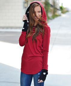 Look what I found on #zulily! So Perla Red Polka Dot Hooded Tunic by So Perla #zulilyfinds