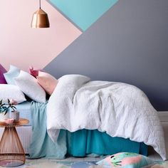15 Beautiful Painted Bedroom Wall Color Design Ideas That inspire Bedroom Wall Colors, Bedroom Decor, Wall Decor, Pastel Bedroom, Bedroom Ideas, Wall Colours, Bright Colours, Bedroom Furniture, Interior Paint Colors