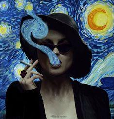 Van Gogh print Marla Singer Hat,Dizaster In A Halo,Reproduction,Great Gift, Wall Hanging Art Van Gogh Arte, Marla Singer, Photocollage, Art Hoe, Office Art, Hanging Art, Surreal Art, Vincent Van Gogh, Aesthetic Art