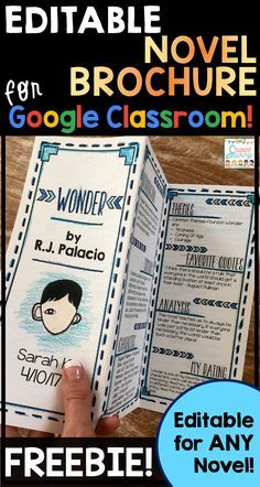 FREE Teaching Resource Editable Novel Brochure on Google Classroom that students can edit for any novel!