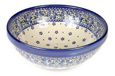 Spring Blossom Small Serving Bowl - Blue Rose Polish Pottery Spring Blossom, Polish Pottery, Home Decor Accessories, Kisses, Dinnerware, Serving Bowls, Stoneware, Decorative Bowls, Cups