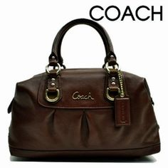 Authentic Coach Ashley Leather Convertible Satchel Bag 15445 Mahogany Brown