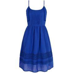 Yumi Cotton Crochet Summer Dress ($72) ❤ liked on Polyvore featuring dresses, cobalt, women, cotton dress, blue sleeveless dress, crochet dress, spaghetti strap summer dress and blue knee length dress
