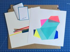 Prepping prints for the postman. 'Shift by Frea Buckler (on the right) and 'Sticks by Sophie Smallhorn: two of many colourful limited edition prints available from Look Up. Central Saint Martins, Online Print Shop, Silk Screen Printing, Screenprinting, Affordable Art, Geometric Art, Limited Edition Prints, Prints For Sale, Looking Up