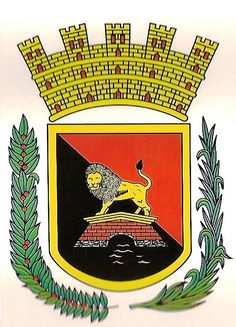 Escudo de Ponce, Puerto Rico. The coat of arms of the municipality is based on the design of the official mayoral seal that was adopted in 1844 under the administration of mayor Salvador de Vives.  The symbols of the shield are as follows: The field represents the flag of the municipality of Ponce, divided diagonally in the traditional city colors: red and black. The lion over the bridge alludes to the last name of the conqueror and first governor of Puerto Rico, Juan Ponce de Leon.
