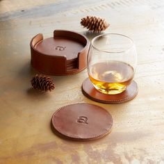 INITIAL ROUND COASTERS, SET OF 6 -- Choose one lower case letter to emblazon upon this fine personalized leather coaster set stacked in its own case. Set of dia. Whiskey Gift Set, Leather Coasters, Leather Keychain, Coaster Set, Leather Craft, Cool Gifts, Gifts For Dad, Initials, Leather Fabric