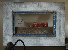 paesaggio del Cilento ...  realizzato con legno ed altri materiali di recupero - framed ancient Cilento house, made by reclaimed wood