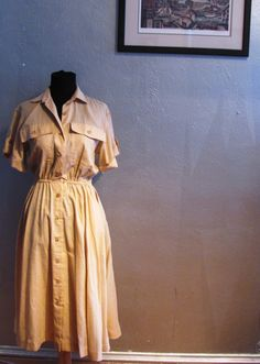 Vintage Khaki Shirtdress by DianesCloset on etsy $30