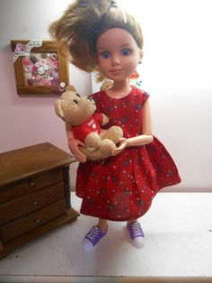 Red floral print doll dress. American Girl by TeenyTinyTailorShop
