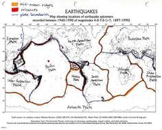 Color coded and labelled world earthquake map! Good Activity!