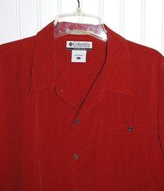Columbia XCO Men's Large Metal Button Plaid Camp Shirt Short Sleeve Red Orange  #Columbia #ButtonFront