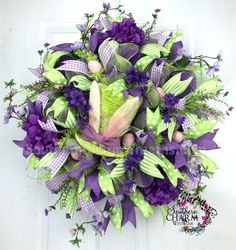 Deco Mesh Bunny Easter Wreath - Lime - Purple - RAZ Top Hat by www.southerncharmwreaths.com #bunny #easter #decomesh #decor