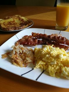 Day off breakfast Fresh toast, eggs, hash browns, BACON!!!