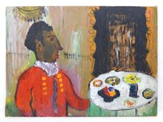 OUTSIDER ART OIL ON BOARD SUITED BLACK WAITER SIGNED ON VERSO 'DELICATE ESSEN'  (sold)  #OutsiderArt