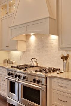 Kitchen range hoods, Kitchen ranges and Stone kitchen on Pinterest