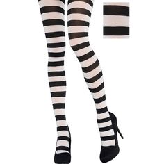 41dcd8b59 Adult Black   White Striped Tights