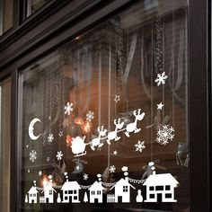Details about christmas xmas display shop window wall decorations decals window stickers Christmas Window Lights, Xmas Lights, Christmas Window Display Home, Christmas Shop Displays, Winter Window Display, Christmas Decorations Uk, Christmas Crafts, Outdoor Christmas, Merry Christmas