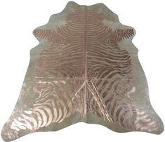 Gold Zebra Print Cowhide Rug Size: 8 X 6.7 ft Gold Metallic Zebra Rug M-169 #cowhidesusa #Contemporary