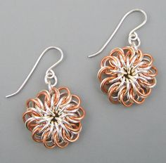 Sterling Silver and Copper #Chainmaille Chrysanthemum by OmiSilver, $63.00