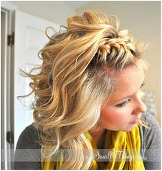 Like the braids but this reminds me to try grey sweater and yellow scarf.
