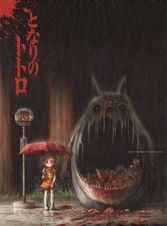 Soooooo creepy. It's totoro but.... yeah really creepy. sachsen.deviantart.com