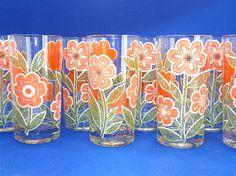 Set of 8 Culver Springtime Orange Flower Glassware by Chaseyblue