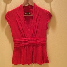 Anthropologie Ett twa top Great red top with vneck and braided trim peplum. Very good condition. Anthropologie Tops